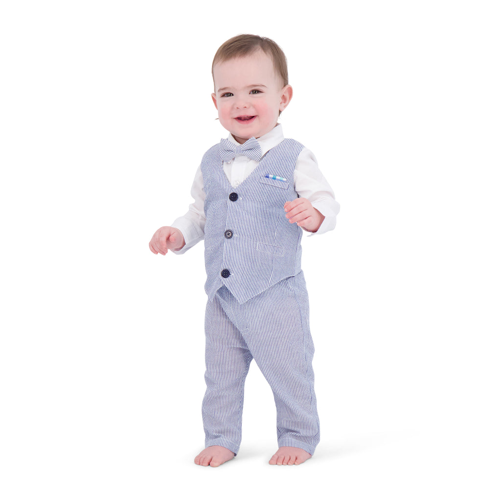 Infant Boys Seersucker Vest Suit Set - Andy & Evan