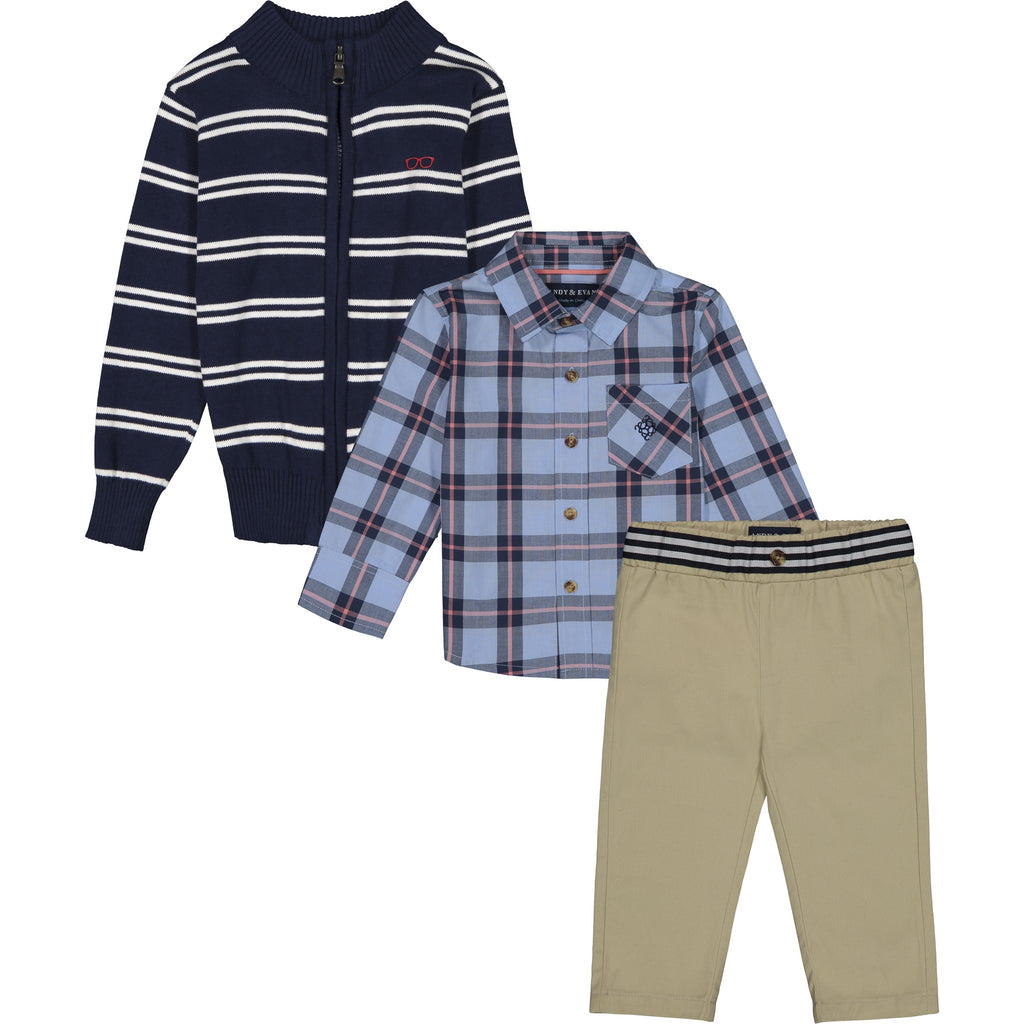 Baby Boys Zip-Up Sweater Set - Andy & Evan