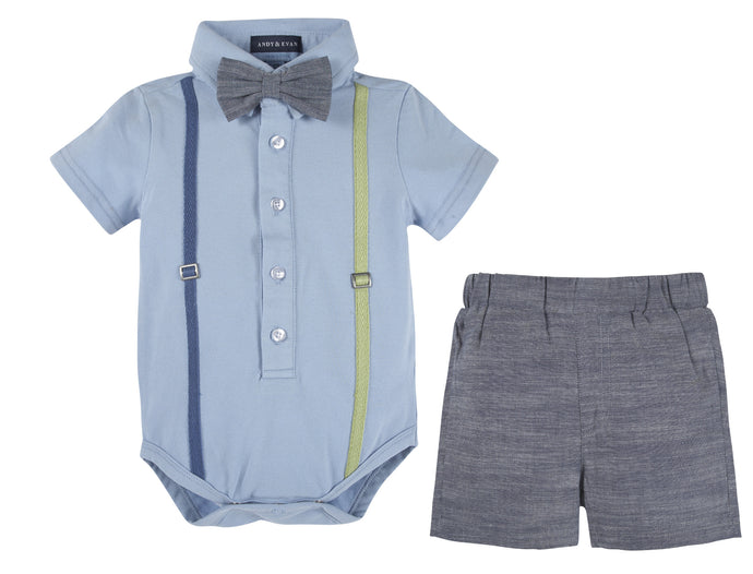 Blue Polo Shirtzie & Woven Short - Andy & Evan
