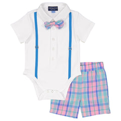 White Easter Plaid Polo Shirtzie Set