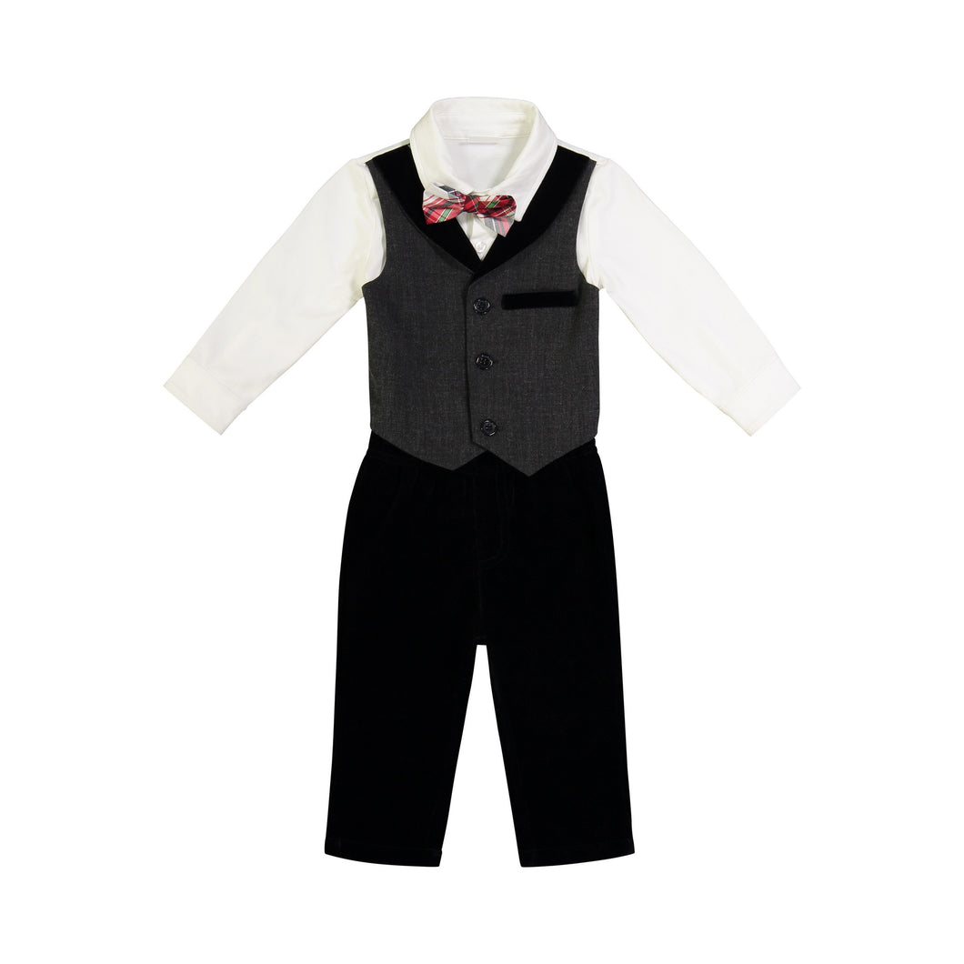 Grey & Black Velvet Playsuit - Andy & Evan