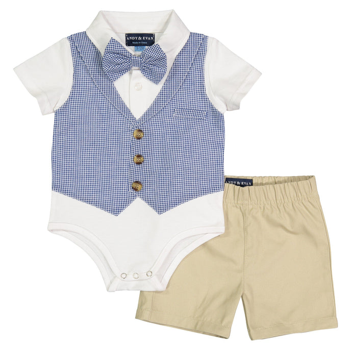 Navy Puckered Gingham Playsuit - Andy & Evan