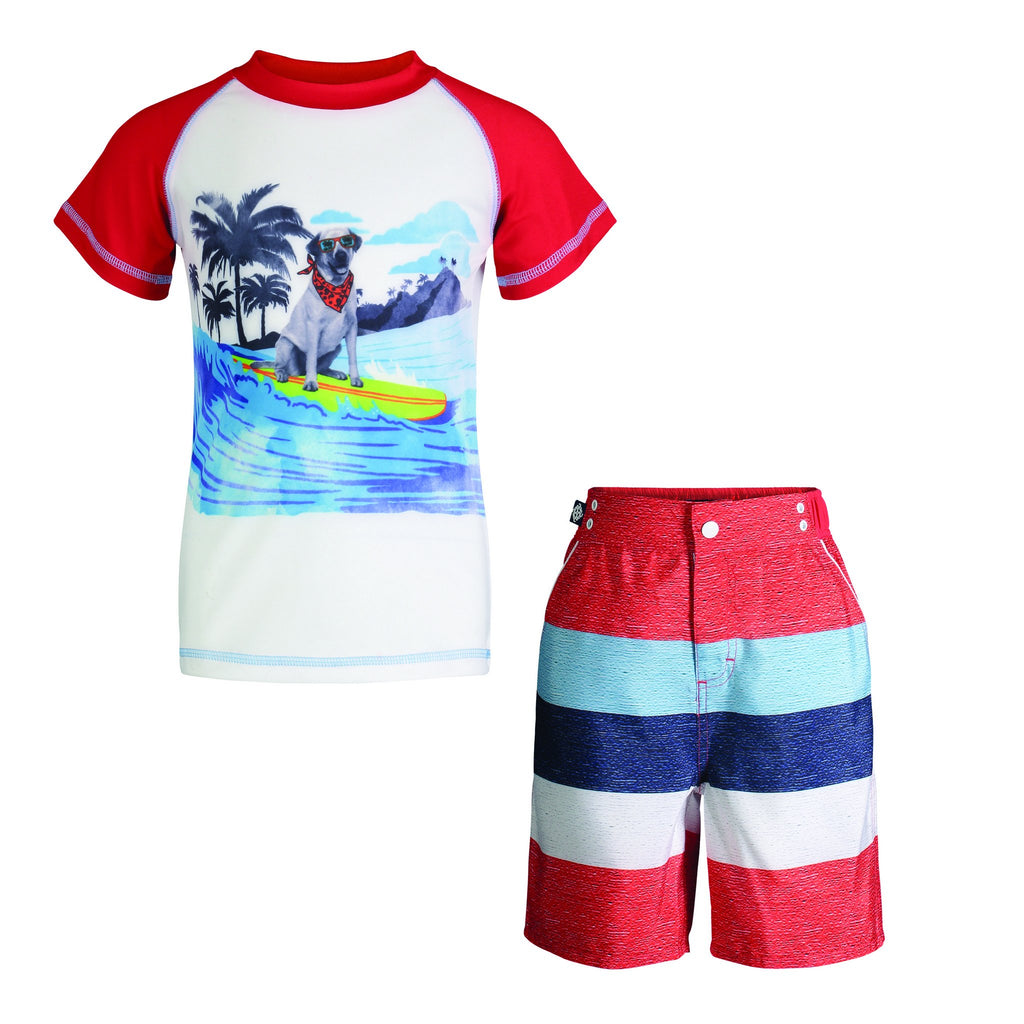 UPF 50 Surfing Dog Rashguard Set (Fabric recommended by The Skin Cancer Foundation) - Andy & Evan