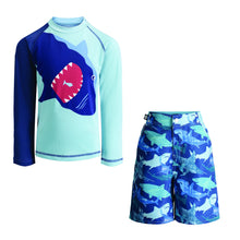 Load image into Gallery viewer, UPF 50 Navy Rashguard Set (Fabric recommended by The Skin Cancer Foundation) - Andy & Evan