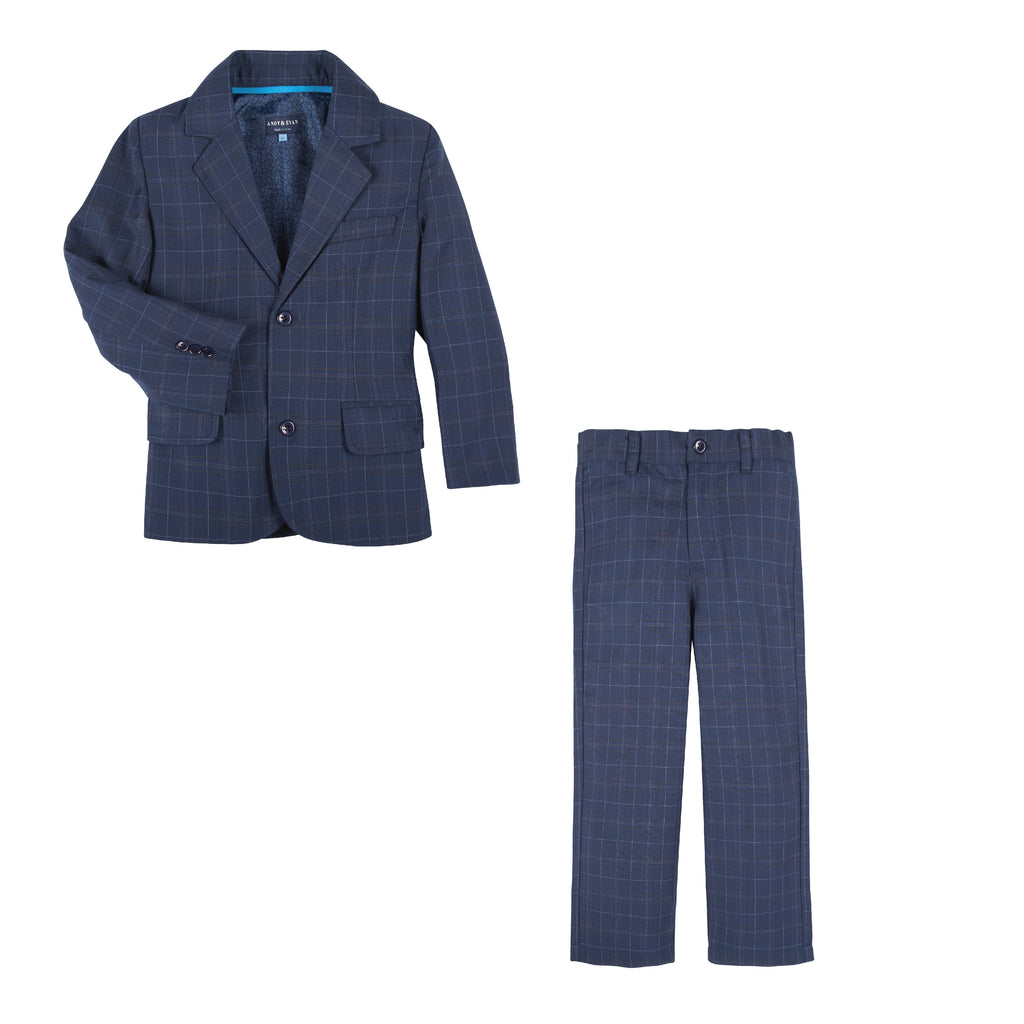 Blue Thin Check Suit - Andy & Evan