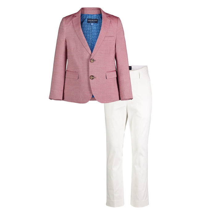 Faded Red Oxford Blazer with Off-White Pant - Andy & Evan
