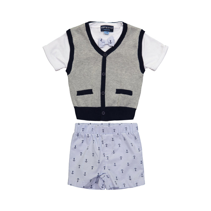 Grey Faux Sweater Vest Infant Set - Andy & Evan