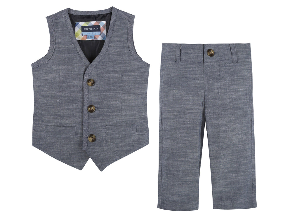Blue Chambray Vest & Pant Set - Andy & Evan