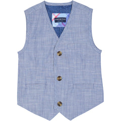Chambray Suit Vest Set