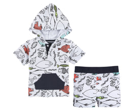 Two Piece Printed Pique Fish Set