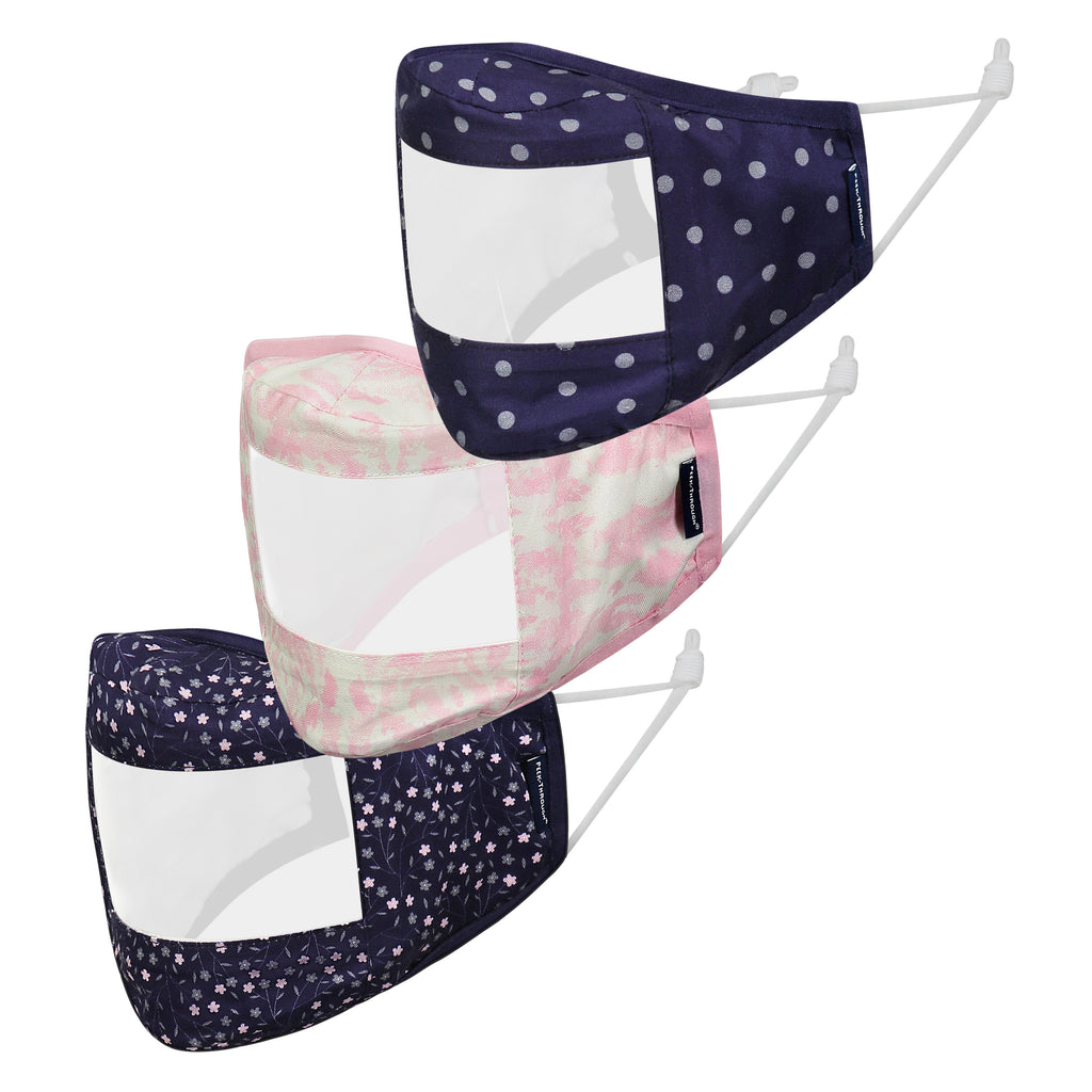 Peek-Through™ Masks 3-Pack (Adult Size) - Navy Pink - Andy & Evan