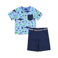 Load image into Gallery viewer, Aqua Tee & Short Set - Andy & Evan