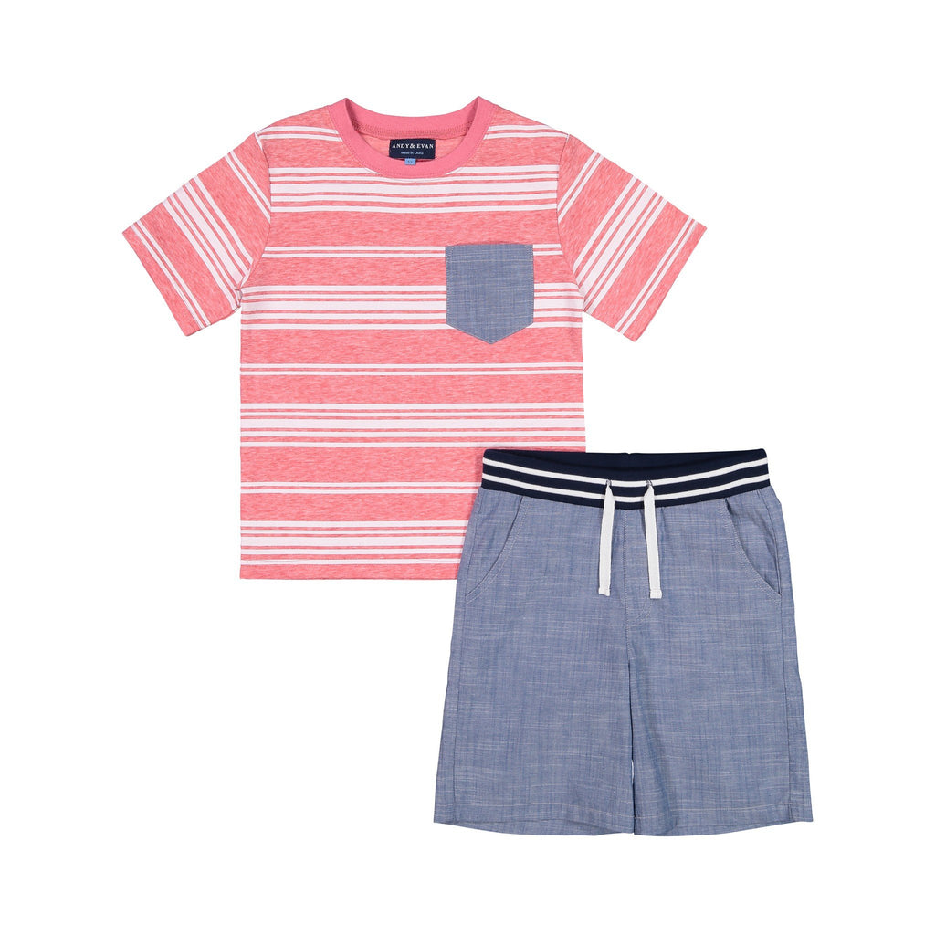 Red Pocket Tee & Short Set - Andy & Evan