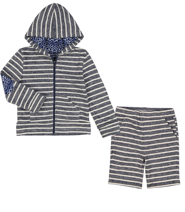 Striped Hoodie and Short Set - Andy & Evan