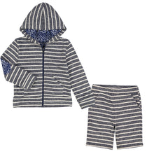 Striped Hoodie and Short Set