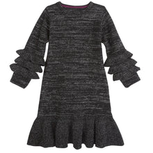 Load image into Gallery viewer, Black/Silver Ruffle Knit Dress - Andy & Evan