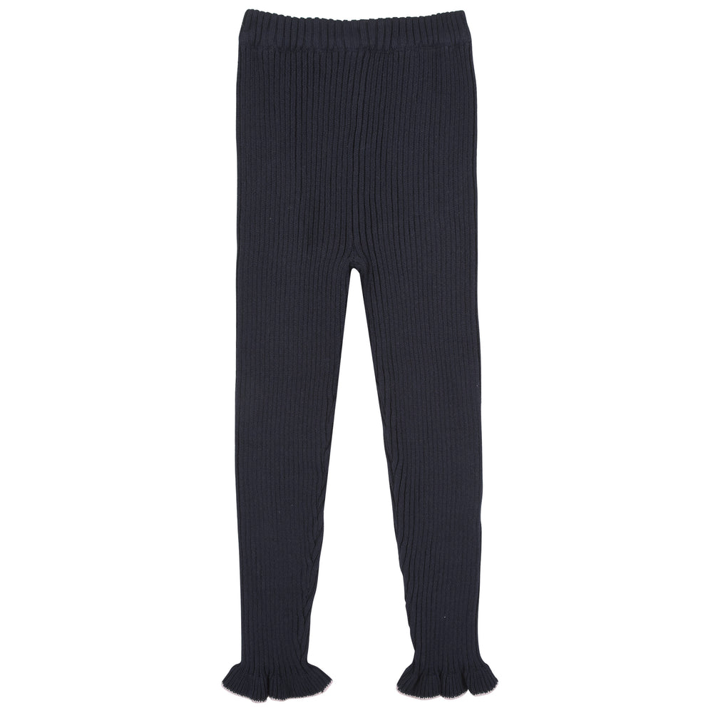 Navy Ribbed Ruffle Leggings - Andy & Evan