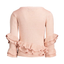 Load image into Gallery viewer, Rose Quartz Ruffle Sweater with Black & Gold Lurex - Andy & Evan