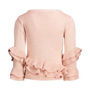 Rose Quartz Ruffle Sweater with Black & Gold Lurex - Andy & Evan