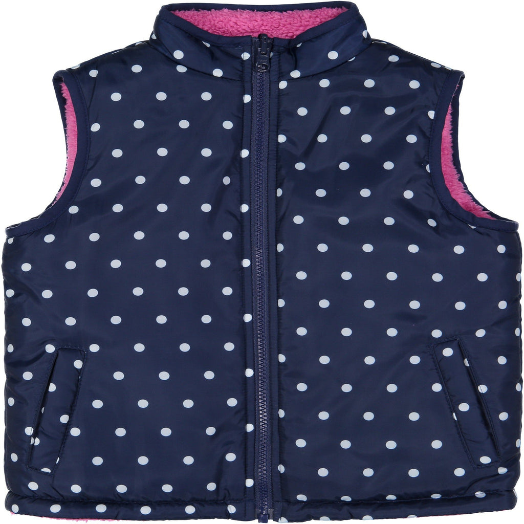 Polka Dot Reversible Puffer Vest - Andy & Evan