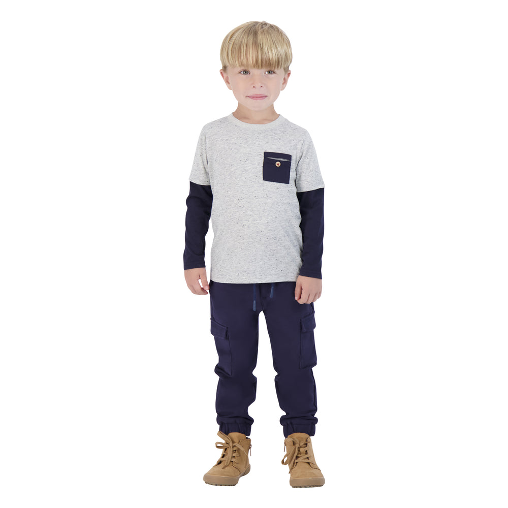 Boys White & Navy Two-Fer Long Sleeve Tee - Andy & Evan
