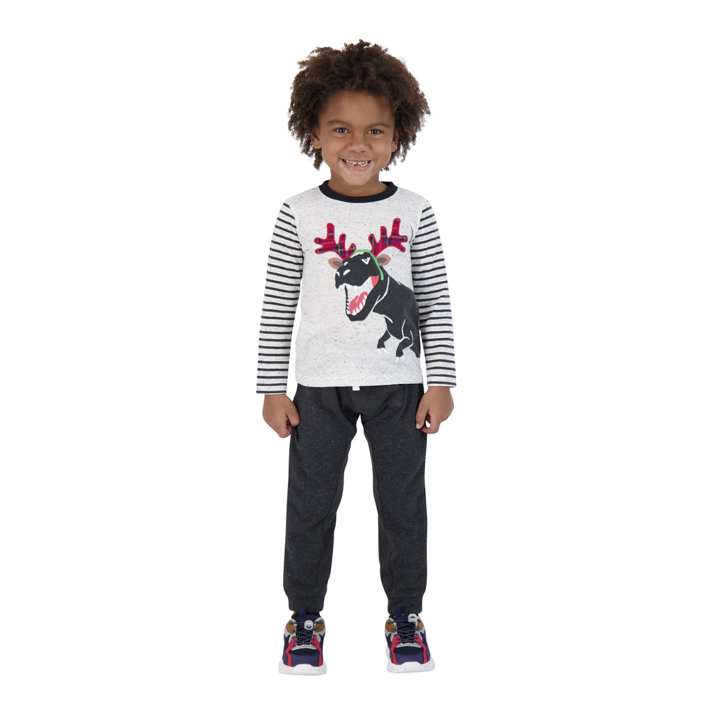 Boys White And Stipped Long Sleeve Tee With Dinosaurprint - Andy & Evan