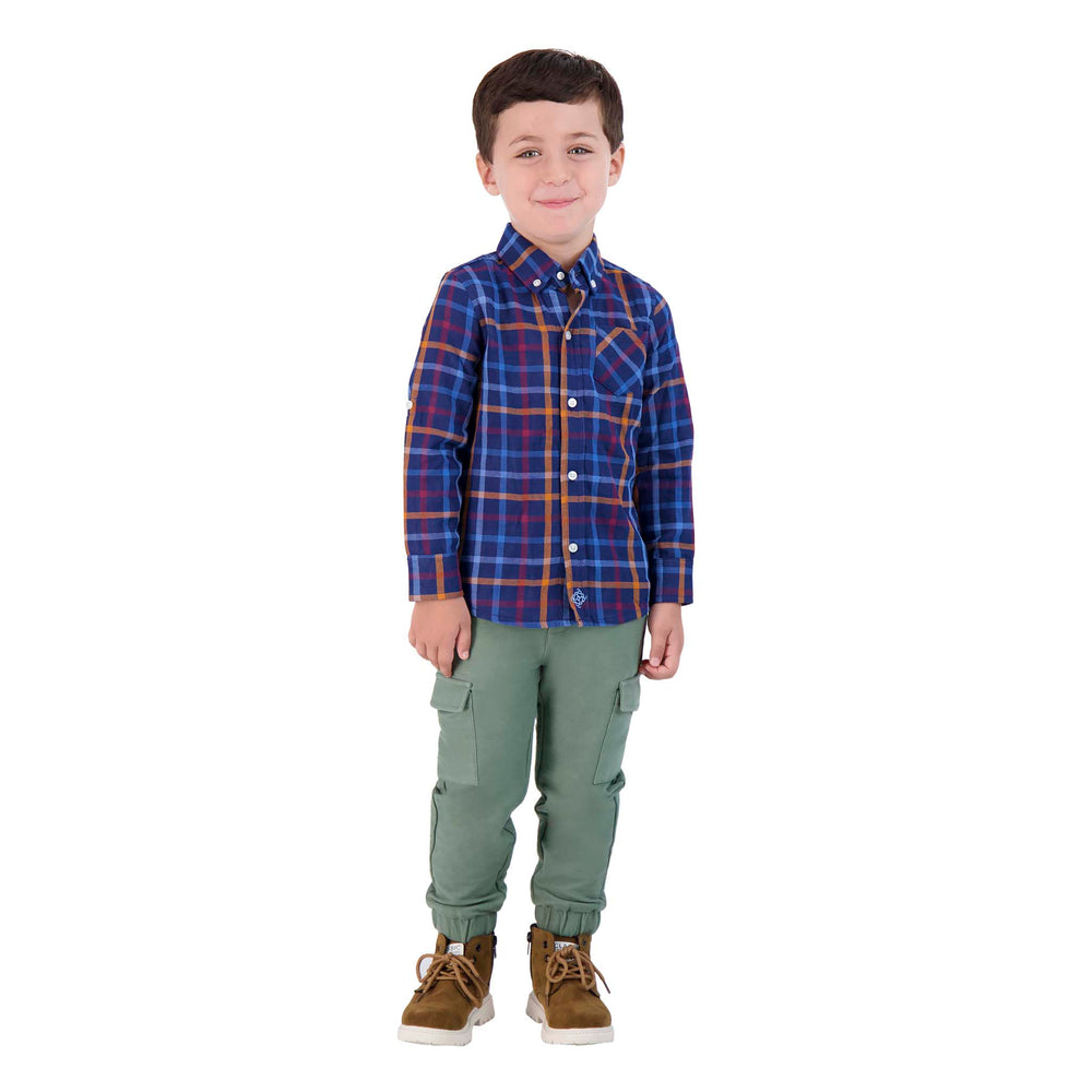 Boys Two-Faced, Dark Blue And Orange Checker Print Long Sleeve Button Down Shirt - Andy & Evan