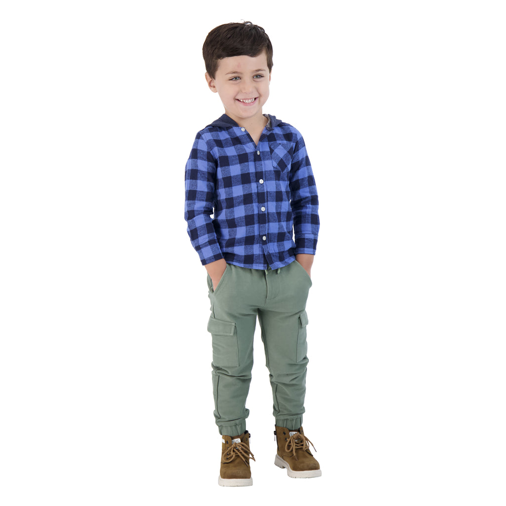 Boys Dark Blue Checker Button Down Hoodie - Andy & Evan