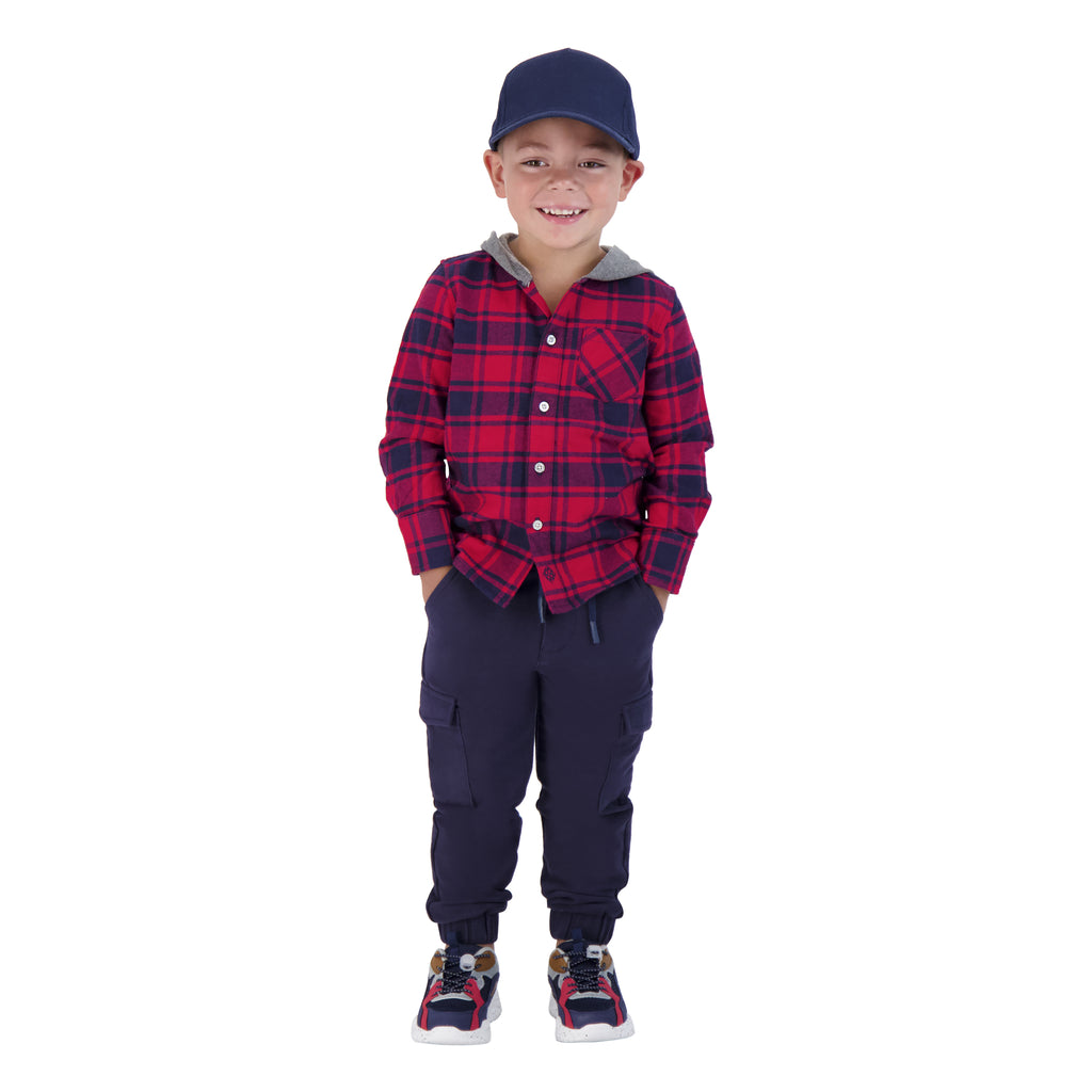 Boys Red And Navy Plaid Button Down Hoodie - Andy & Evan