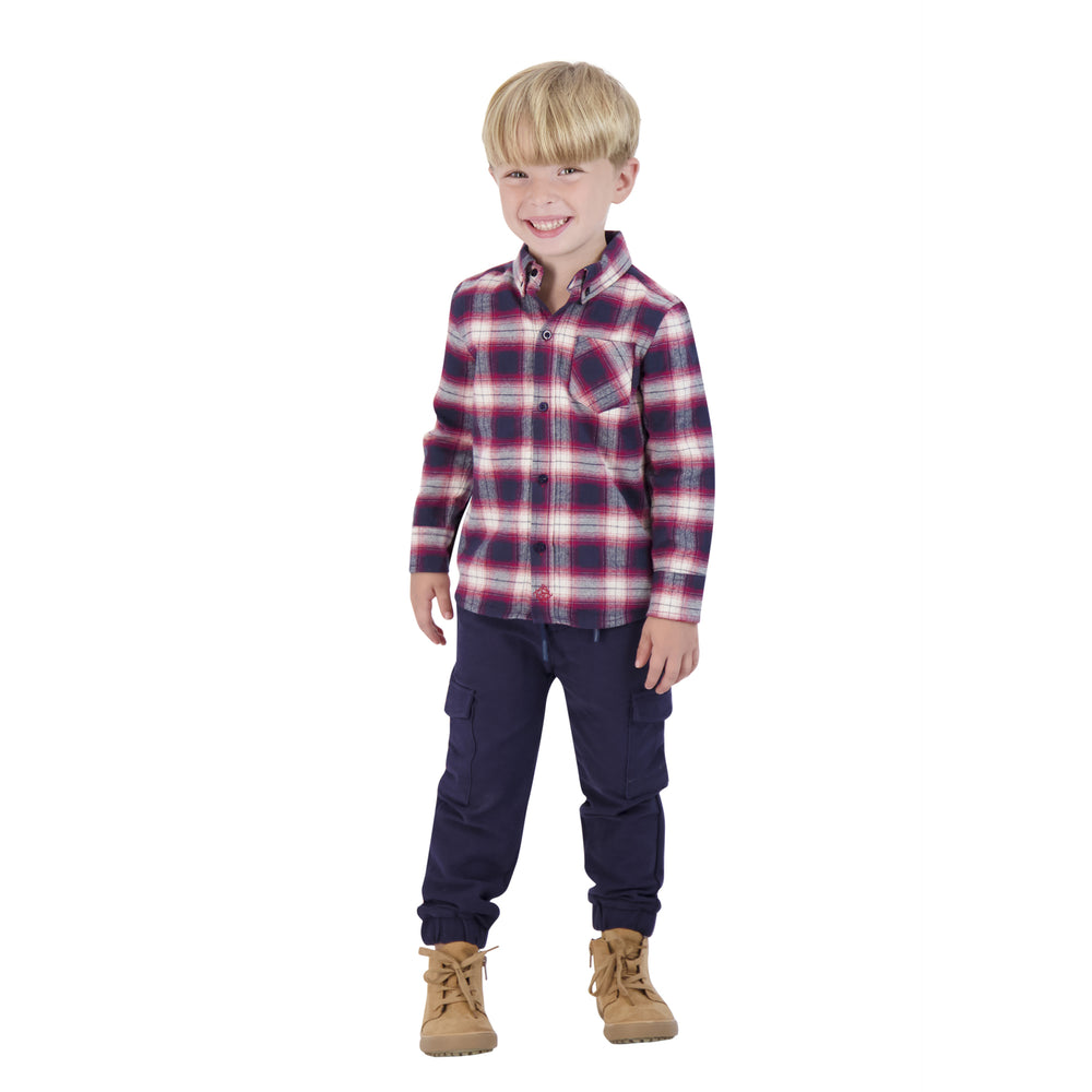 Boys Navy & Red Flannel Button Down Shirt - Andy & Evan
