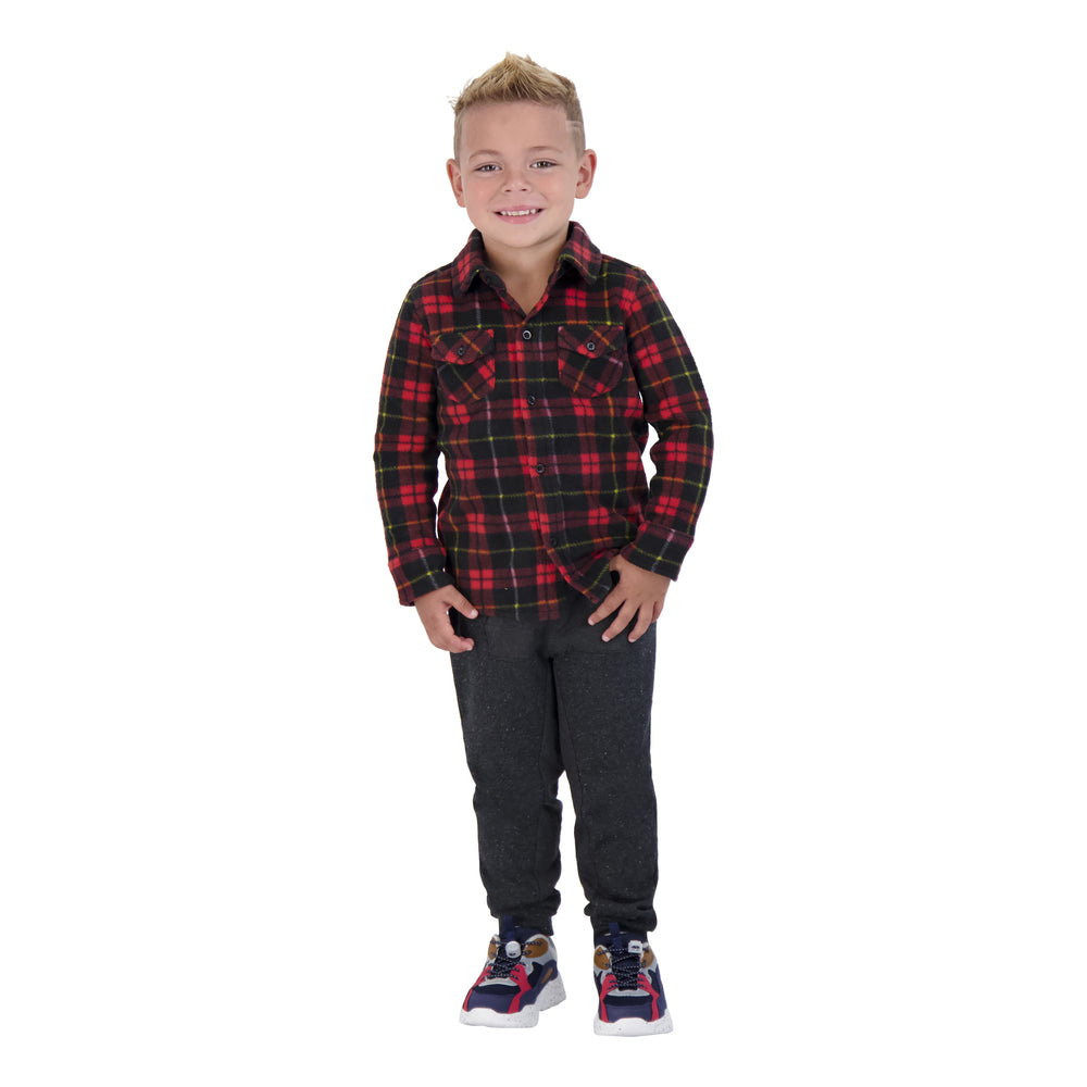 Boys Red And Black Plaid Button Down Shirt - Andy & Evan