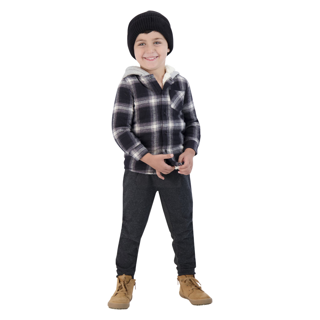 Boys Black And White Sherpa Lined Button Down Hoodie - Andy & Evan