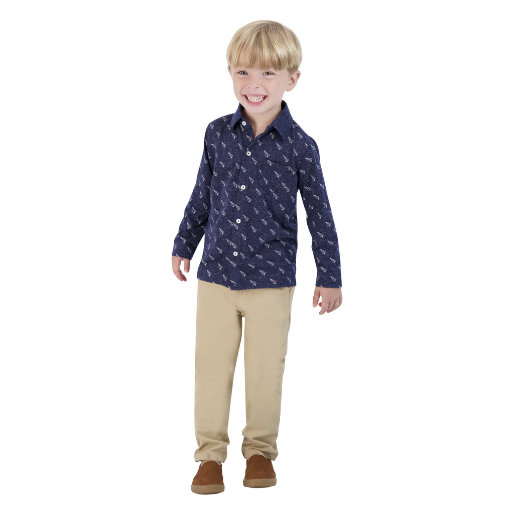 Boys Navy Long Sleeve Button Down Polo Shirt With Rocket Ship Print - Andy & Evan