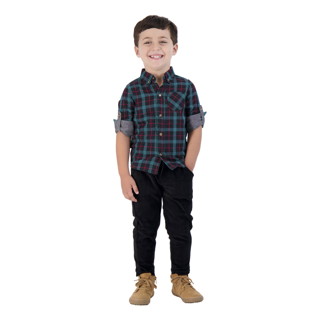 Boys Dark Brown Knit Cord Slim Joggers - Andy & Evan