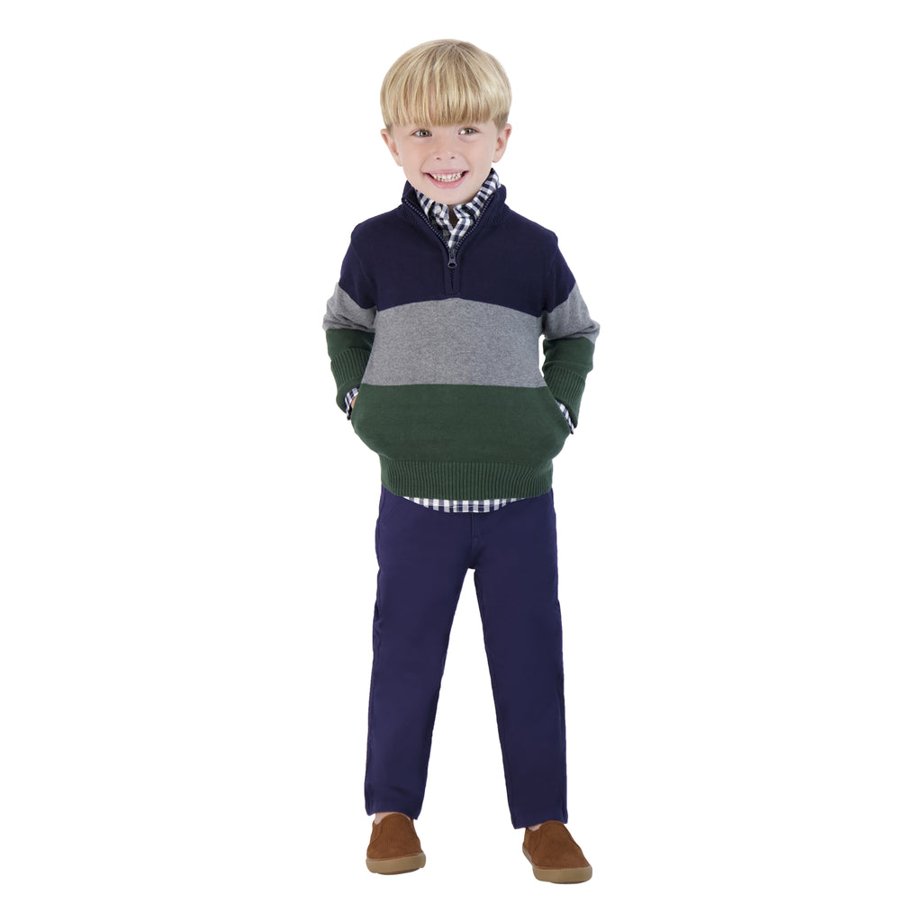 Boys Tri-colored Half Zip Up Sweater - Andy & Evan