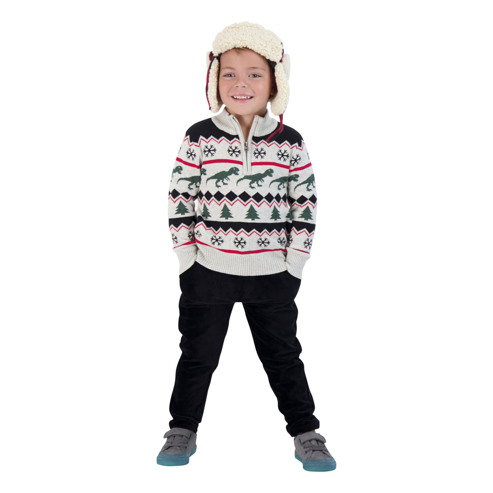 Boys Holiday Half Zip Up Sweater - Andy & Evan