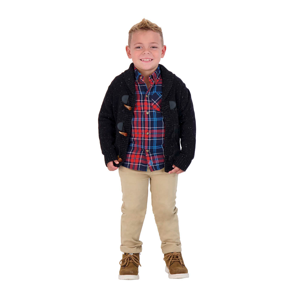 Boys Double-Faced, Red And Black Checker Print Long Sleeve Button Down Shirt - Andy & Evan