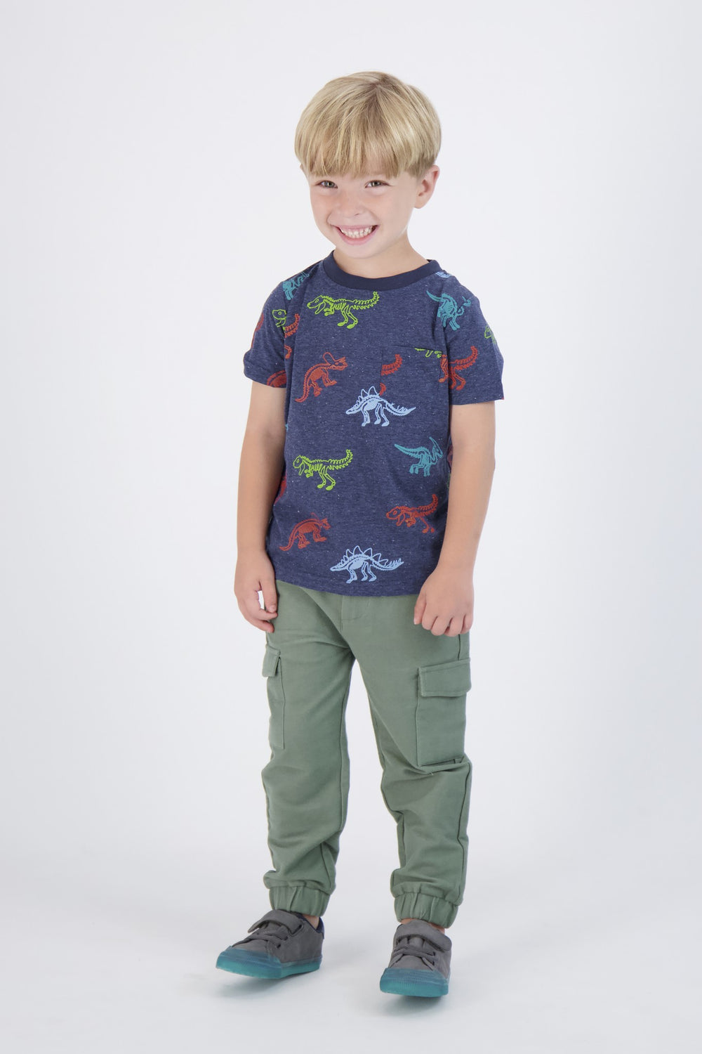 Boys Navy Short Sleeve Tee Shirt With Dinosaur Prints - Andy & Evan