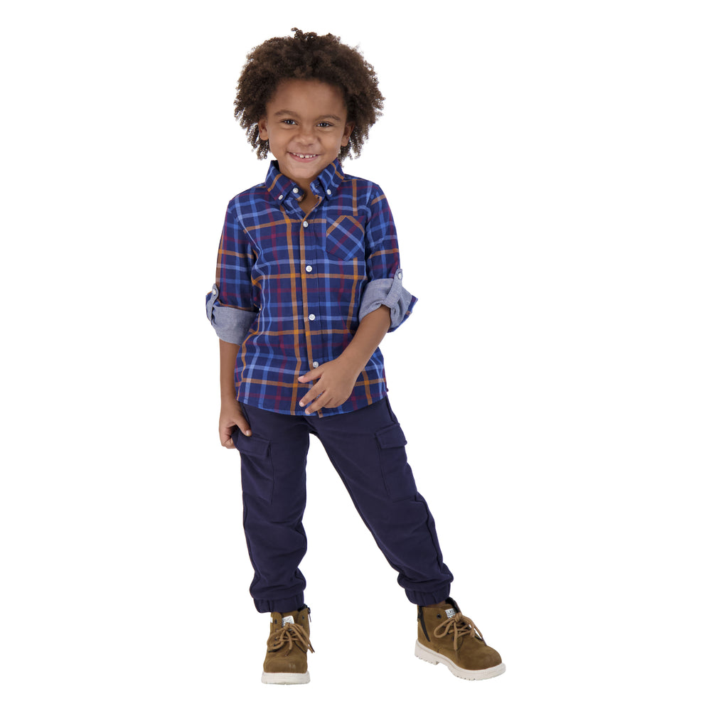 Boys Double-Faced, Dark Blue And Orange Checker Print Long Sleeve Button Down Shirt - Andy & Evan