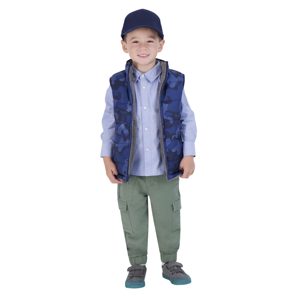 Boys Youth Reversible Fleece Sherpa Vest - Andy & Evan