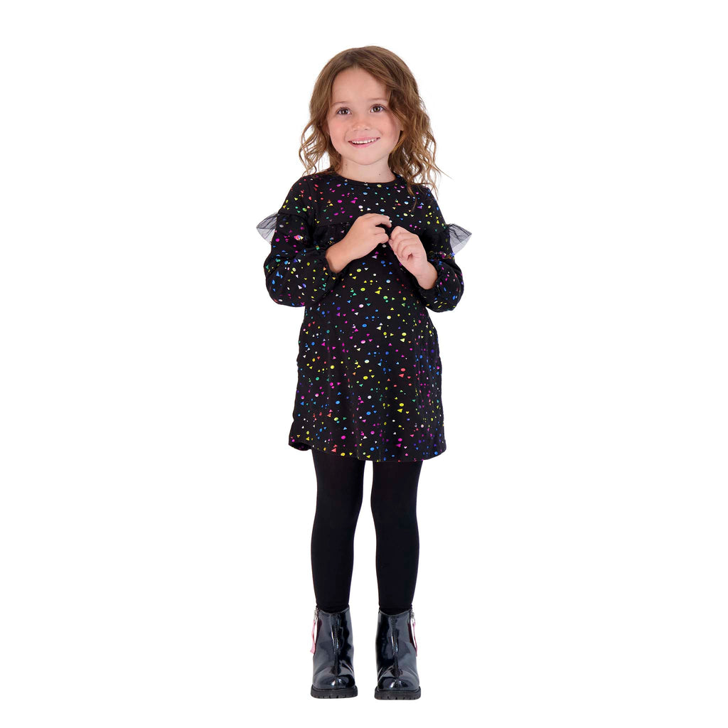 Girls Long Sleeve Ruffle Front Dress - Andy & Evan
