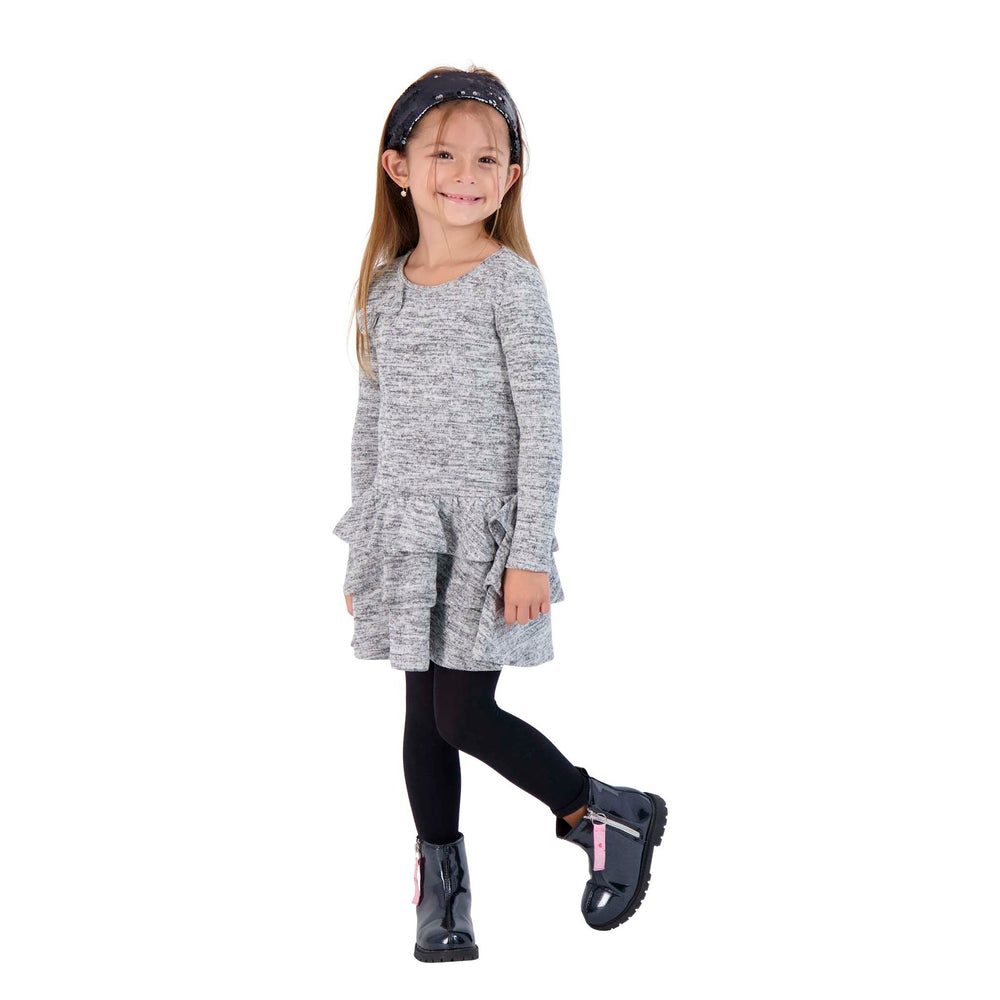 Grey Ruffle Hacci Dress (Super Soft) - Andy & Evan
