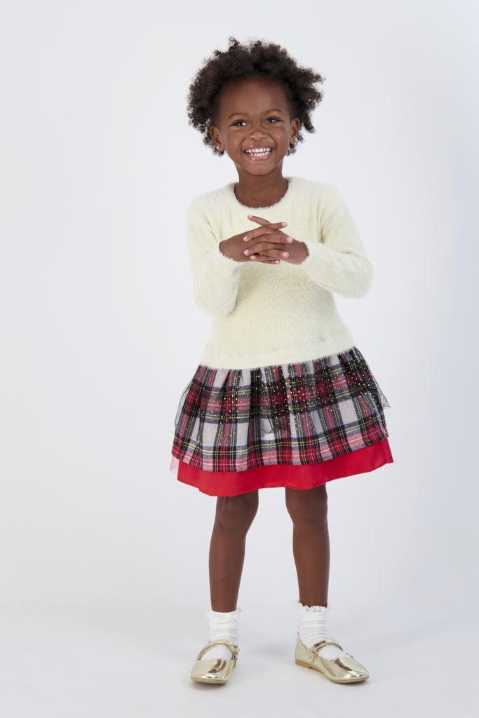 Infant Girl (3-9 M) Sweater Dress with Plaid Skirt - Andy & Evan