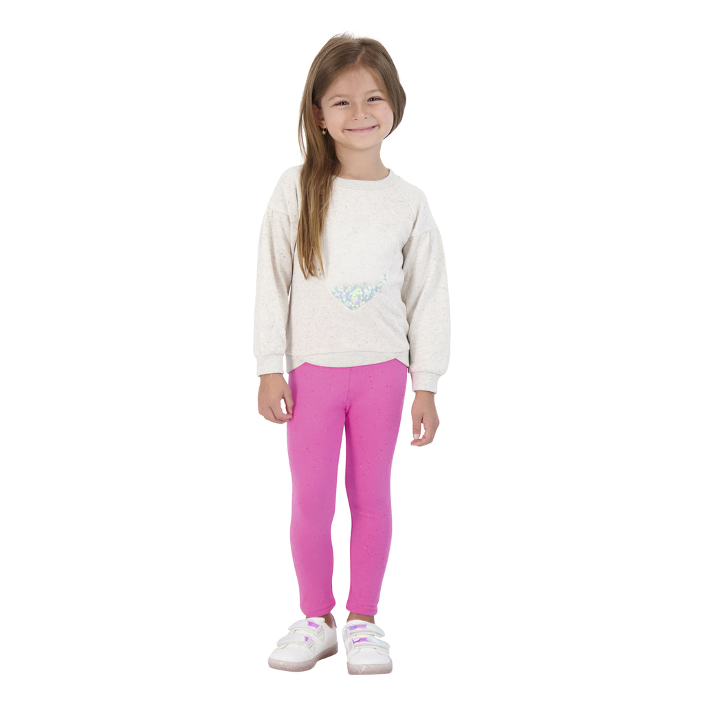 Girls Pink Sparkle Leggings - Andy & Evan