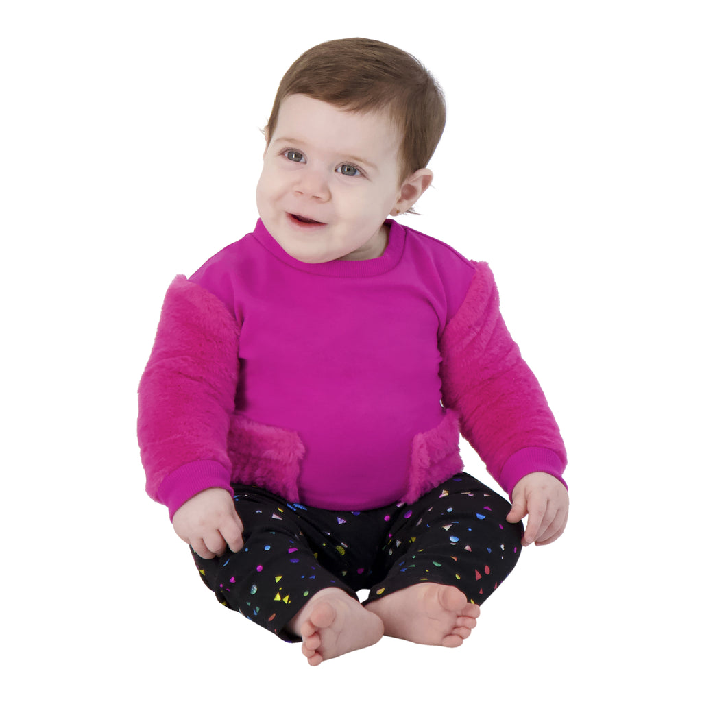 Baby Girls Dark Pink Sweater With Spotted Black Pants Two Piece Set - Andy & Evan