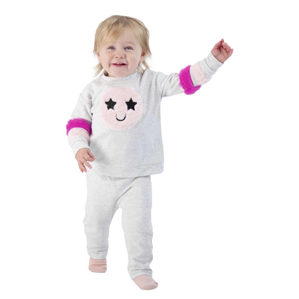 Baby Girls Furry Applique Sweatshirt With Smiley Face Print Set - Andy & Evan