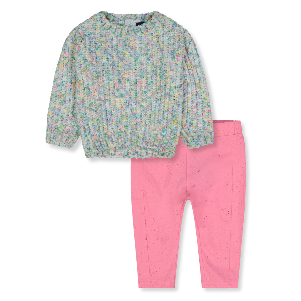 Baby Girls Spotted Grey Sweater With Pink Leggings Two Piece Set - Andy & Evan