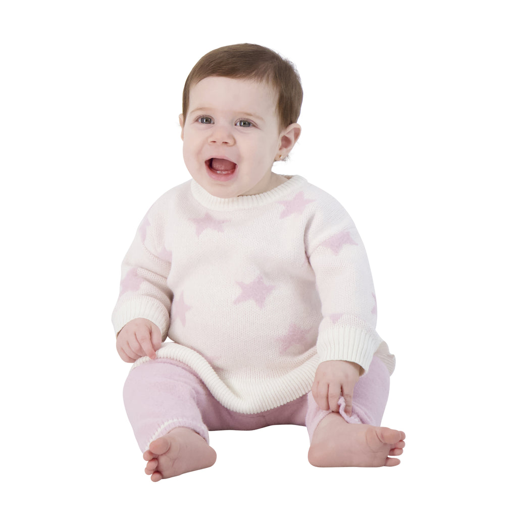 Baby Girls Pink Star Shirt And Pants Two Piece Set