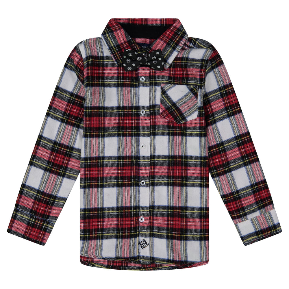 Red Plaid Shirt with Bowtie Set - Andy & Evan