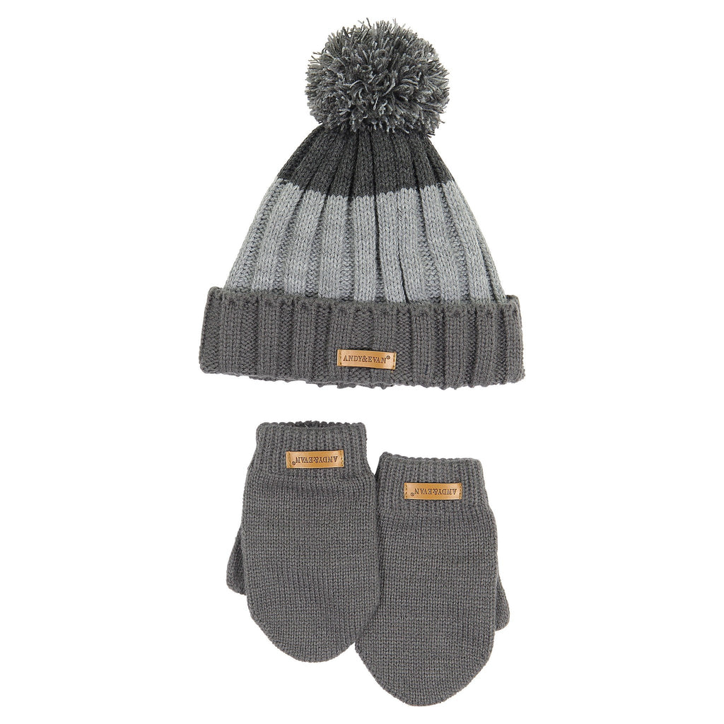 Hat & Glove Set - Grey Color Blocked - Andy & Evan